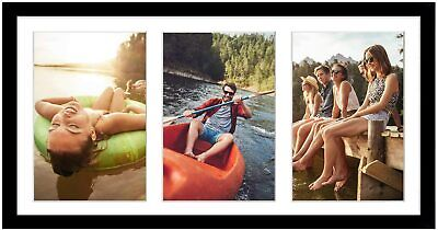 Collage Picture Frame Black Wood 8×16 Displays (3) 5 x 7 Photos Frames