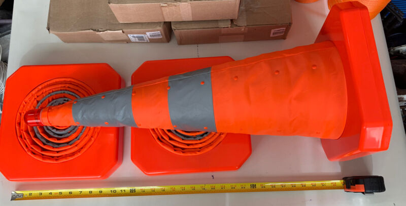3 CONES! -BULK- Cortina Collapsible Orange Safety Cone w/ LED Reflective Bands