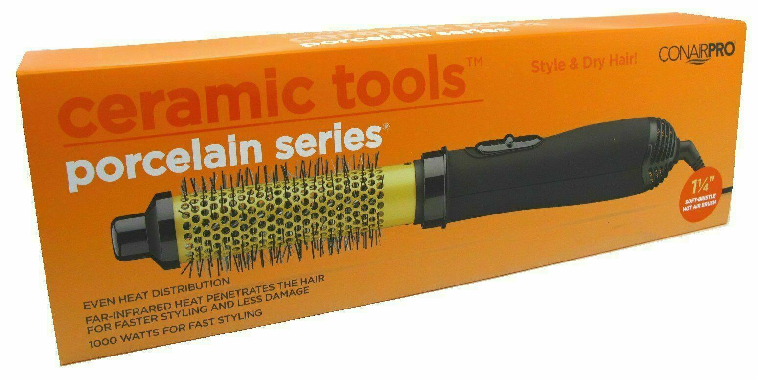 "CONAIR PRO 1-1/4"" Soft Bristle Hot Air Hair Brush Ceramic To"