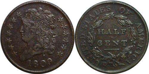 1809 1/2C Classic Head Half Cent Extra Fine Details