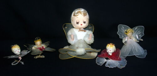 VINTAGE CHRISTMAS ORNAMENTS TULLE ANGELS LOT  5 PIECES