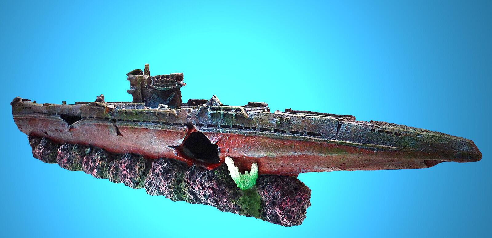 Aquarium Deko ► U-BOOT WRACK ◄ Schiff Schiffswrack Dekoration Höhle Zubehör