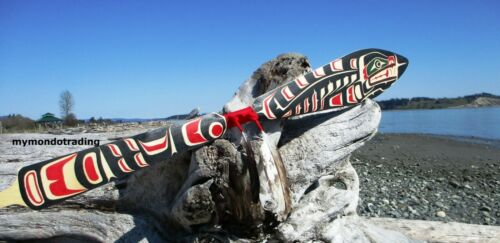 Northwest coast native First Nations, Canada, cedar hand painted SEAL paddle