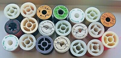 20 Used Spools Fly Tying Thread For Hooks Material Supplies
