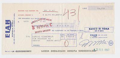 Cheque  Check Italy Banca Di Roma Elah Genova   Pegli 1967  Vintage