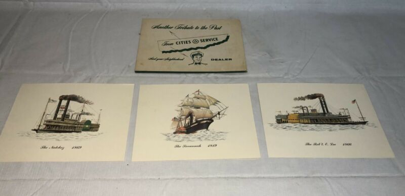 VINTAGE 1940's CITIES SERVICE GAS STATION ADVERTISING DEALER STEAMBOAT PRINTS