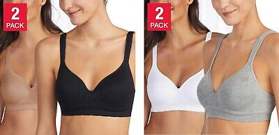 Carole Hochman Seamless Comfort Bra Wire Free Molded Cups Comfort Straps 2-Pack Comfort Strap Wire Free Bra