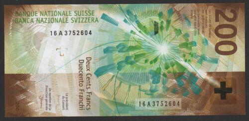 Switzerland Swiss 200 Francs 2018 (2016) UNC P#79b