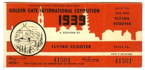1939 GGIE SAN FRANCISCO GOLDEN GATE EXPO~FLYING SKOOTER RIDE~WORLD