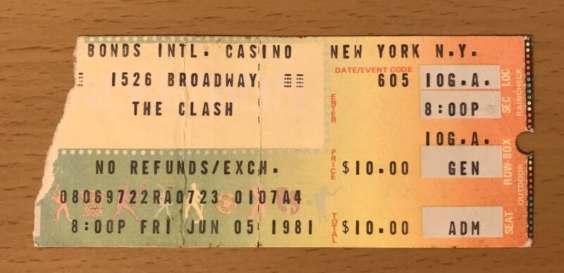 1981 6/5 THE CLASH BONDS CASINO NEW YORK CITY CONCERT TICKET STUB LONDON CALLING