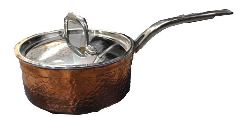 Lagostina Martellata Hammered Stainless Steel Copper Saucepan 2-Quart (Unboxed)