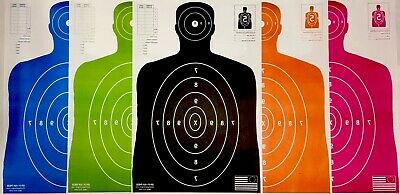Paper Shooting Targets Black Silhouette Gun Pistol Rifle B-27 Qty:30 23x35