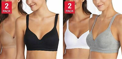 Carole Hochman Seamless Bra Wire Free Molded Cups Comfort Straps 2-Pack S M L XL Comfort Strap Wire Free Bra