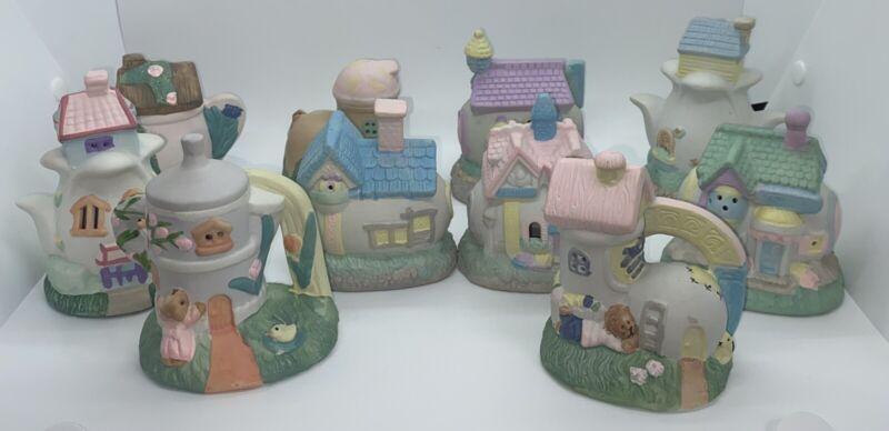 Pastel  Porcelain Bisque Easter Egg House Village Set Of 10
