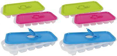 Eiswürfelbereiter Eiswürfelschalen Deckel Kunststoff 3-farbig sortiert 6 Stück