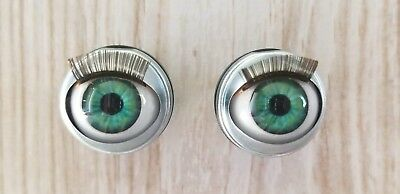 "18mm Doll Eyes - Fit 18"" American Girl Dolls Open/Close With Lashes Mint Blue"