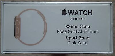 Apple Watch Series 1 38mm Rose Gold Aluminum Case with Pink Sport Band New!
