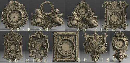 9 Pcs 3D STL Model # WALL CLOCKS ANGEL THEME # for CNC Engraver Carving Router