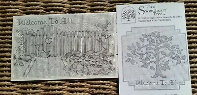 Set of 2 Sweetheart Tree Cross Stitch Welcome patterns