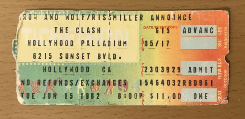 1982 THE CLASH HOLLYWOOD 6/15 CONCERT TICKET STUB JOE STRUMMER LONDON CALLING #2