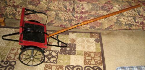 VTG Antique 1910 Geneva Red Wood W/Leather Seat Child