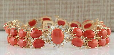 31.50 Carat Natural Coral 14K Yellow Gold Diamond Bracelet
