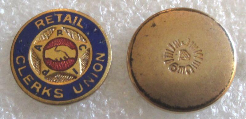Vintage Retail Clerks Union Member Lapel Pin - RCIPA Screw Back