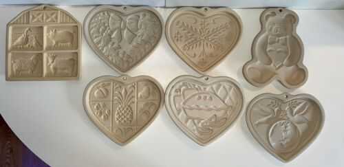 Lot of 7 The Pampered Chef Stoneware Cookie Mold Cutter Stamp Press Brown Bag