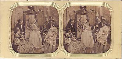 Scene of genre Mirror inside Fashion Diorama Tissue Stereo Vintage ca 1860