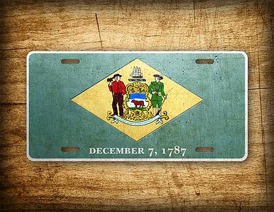 Delaware Flag License Plate DE State Official Flag Symbol Auto Tag 6x12 Aluminum