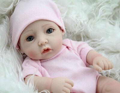 "11""Handmade Real Newborn Baby Vinyl Silicone Realistic Reborn Dolls Girl Gift US"