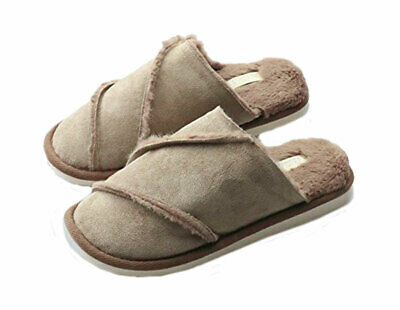 Fitory Women's Slippers Suede Plush Lined Slip-On Memory Foam Clog Khaki 7 AS-IS