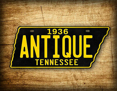 Antique Tennessee License Plate BLACK & GOLD Vintage REPLICA TN Auto Tag ~CUSTOM
