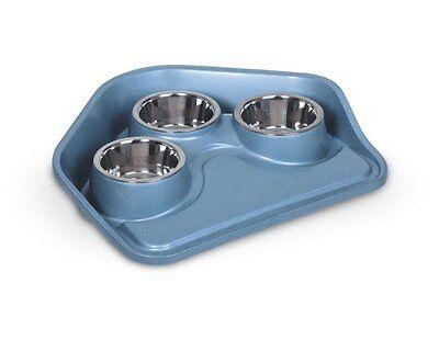 TrayVIP Futterbar-Futtertablet aus Plastik für Hunde/Katzen mit 3Edelstahlnäpfen