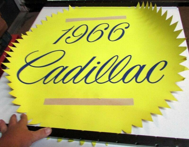 1966 Cadillac Dealer Showroom Window Sign Poster New Models Starburst Display