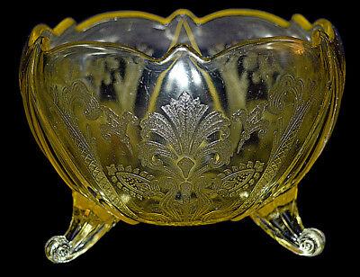 Lancaster Glass Landrum Topaz / Yellow Footed Rose Bowl
