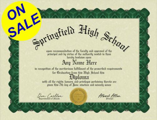 Diploma Fun/Gag/Fake High School Home School Bordered