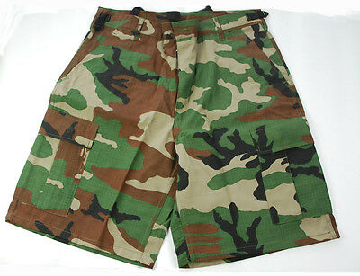 TACTICAL PAINTBALL HUNTING WOODLAND CAMO BDU SHORTS L-33014