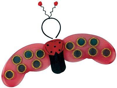 Girls Ladybug Wings Lady Bug Costume Headband Bopper Head Band Kids Red Child
