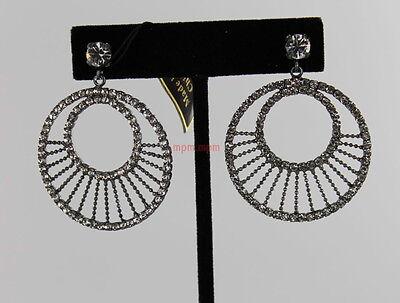Joan Rivers Double Circle Crystal Earrings - Gunmetal