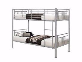 SINGLE METAL BUNK BED -- BLACK WHITE AND SILVER -- SPLITABLE METAL BUNK BED