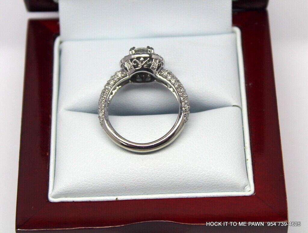 Duet Halo Diamond Engagement Ring in 14k White Gold (1.75 ct. tw.) GIA 3