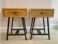 LOAF Bedside Tables Cabinets Pair 2 Wooden Steel