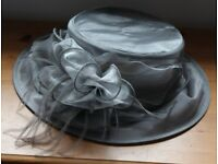 Grey Hat with little feathers coming out of bow, worn once for a Wedding, only £7