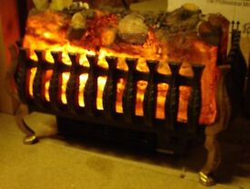 Log effect Wrought Iron Basket Electric Fire