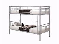 NEW Strong Metal Bunk Bed In White , Black , and Silver Colors