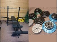 Multi Fitness / Workout / Exercise bench plus 120kg Cast Iron Weights and 6ft Bar - GREAT CONDITION