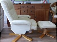 Cream Swivel Chair With Footstool