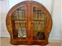 Art deco round bookcase / display cabinet with original key delivery available