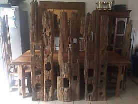 ABSOLUTELY STUNNING/UNUSUAL HAND CARVED/TREE 8 SEATER DINING TABLE & 8 CHAIRS